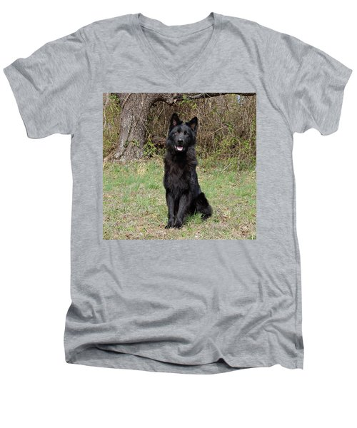 Men's V-Neck T-Shirt featuring the photograph Aziza Sitting by Sandy Keeton