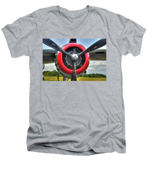 Men's V-Neck T-Shirt featuring the photograph B 25 Red Trimmed Engine by Gary Slawsky