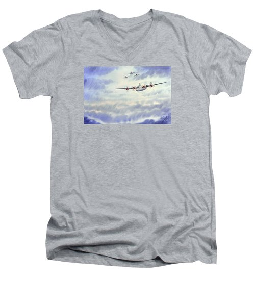 Men's V-Neck T-Shirt featuring the painting B-24 Liberator Aircraft Painting by Bill Holkham