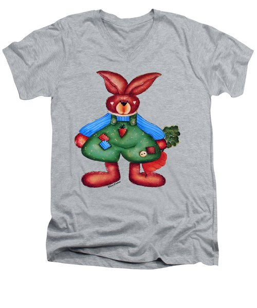 B Is 4bunny Men's V-Neck T-Shirt by Tami Dalton