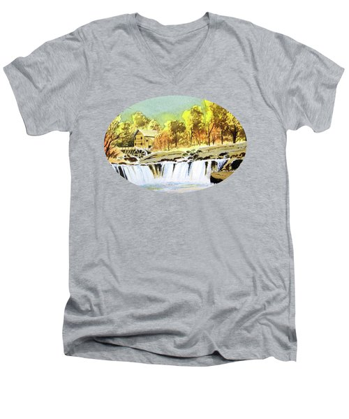 Men's V-Neck T-Shirt featuring the painting Babcock State Park West Virginia by Bill Holkham