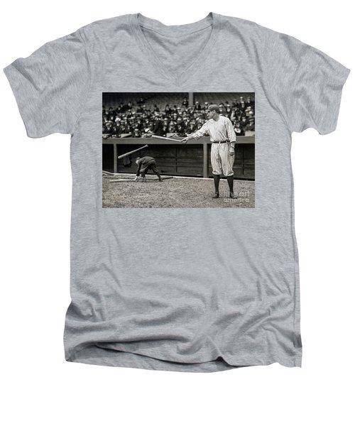 Babe Ruth At Bat Men's V-Neck T-Shirt by Jon Neidert