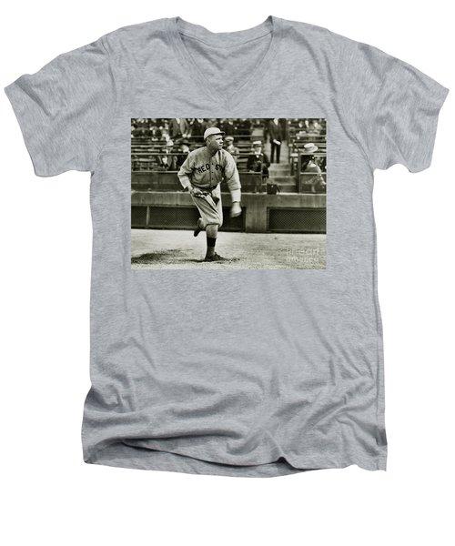 Babe Ruth Pitching Men's V-Neck T-Shirt by Jon Neidert