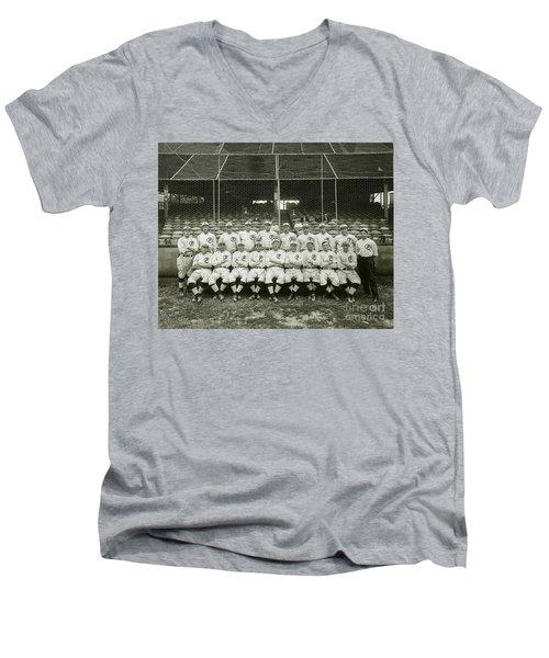 Babe Ruth Providence Grays Team Photo Men's V-Neck T-Shirt by Jon Neidert