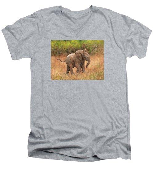 Baby African Elelphant Men's V-Neck T-Shirt