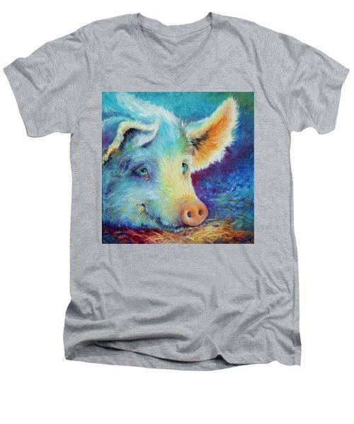 Baby Blues Piggy Men's V-Neck T-Shirt