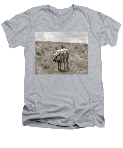 Men's V-Neck T-Shirt featuring the photograph Baby Buffalo In Field With Sky by Rebecca Margraf