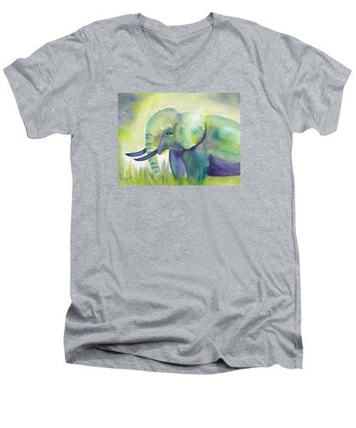 Baby Elephant Men's V-Neck T-Shirt by Frank Bright