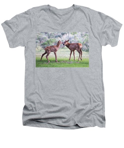 Men's V-Neck T-Shirt featuring the photograph Baby Elk by Wesley Aston