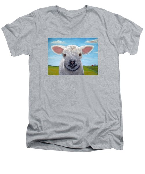 Baby Farm Lamb Sheep  Men's V-Neck T-Shirt by Linda Apple