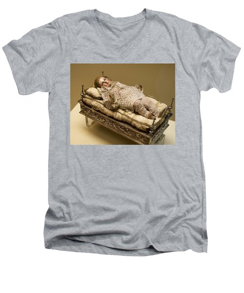 Men's V-Neck T-Shirt featuring the photograph Baby Jesus In Lace by Lorraine Devon Wilke