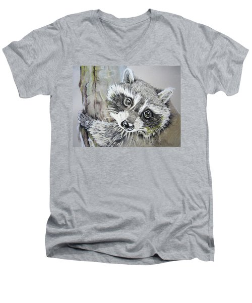 Baby Raccoon Men's V-Neck T-Shirt