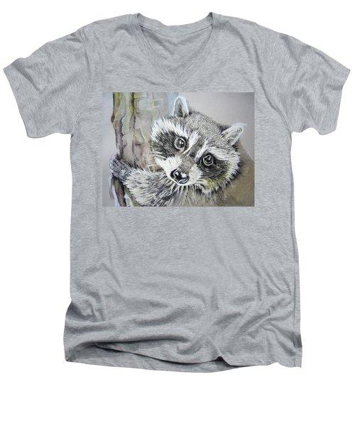 Baby Raccoon Men's V-Neck T-Shirt