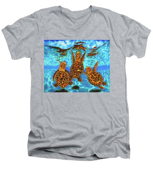 Baby Sea Turtles Men's V-Neck T-Shirt