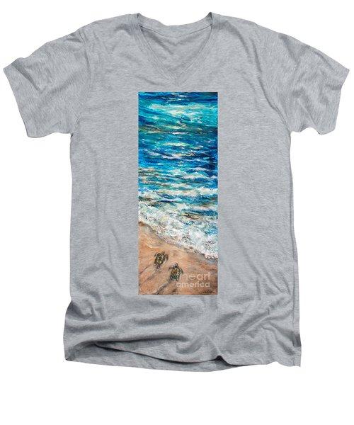 Baby Sea Turtles I Men's V-Neck T-Shirt by Linda Olsen