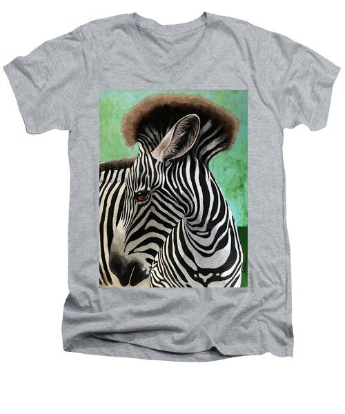 Baby Zebra Men's V-Neck T-Shirt by Linda Apple