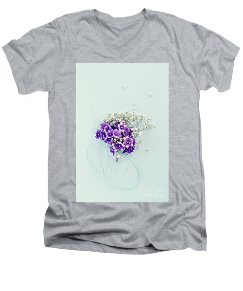 Baby's Breath And Violets Bouquet Men's V-Neck T-Shirt by Stephanie Frey