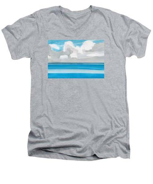 Men's V-Neck T-Shirt featuring the painting Bacalar, Mexico by Dick Sauer
