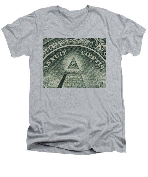 Back Of 1 Dollar Bill Men's V-Neck T-Shirt