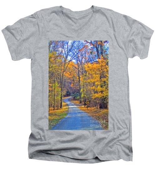 Men's V-Neck T-Shirt featuring the photograph Back Road Fall Foliage by David Zanzinger