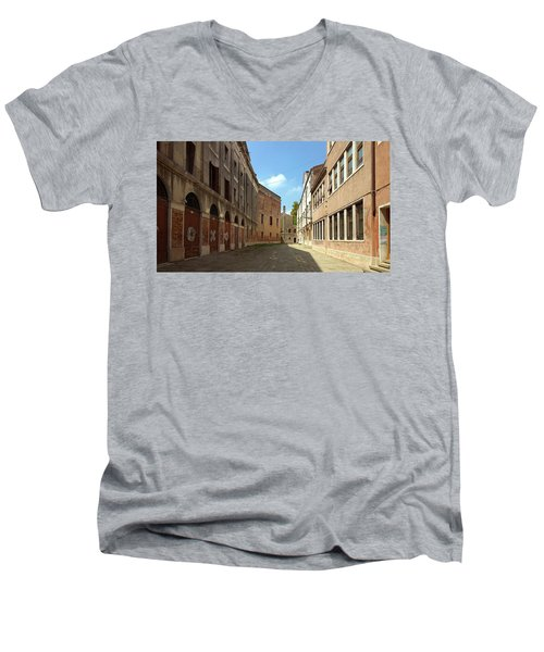 Men's V-Neck T-Shirt featuring the photograph Back Street In Venice by Anne Kotan