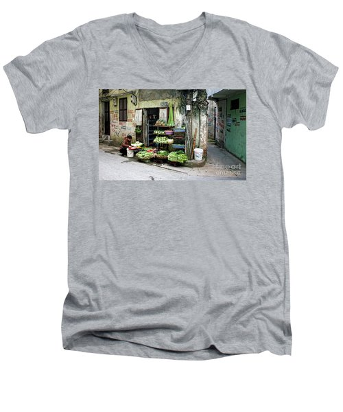 Back Street Veggies Store I Men's V-Neck T-Shirt by Chuck Kuhn