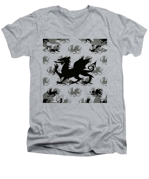 Background Choice Welsh Dragon Black Men's V-Neck T-Shirt