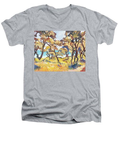 Backlight Olive Trees Marmari Beach Men's V-Neck T-Shirt