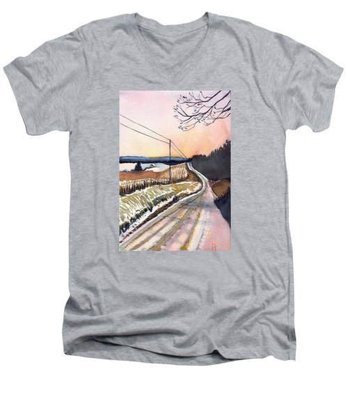 Backlit Roads Men's V-Neck T-Shirt by Katherine Miller