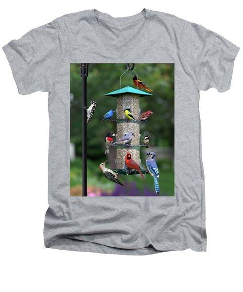Backyard Bird Feeder Men's V-Neck T-Shirt
