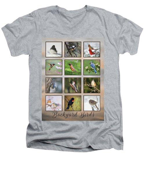 Men's V-Neck T-Shirt featuring the photograph Backyard Birds by Lori Deiter
