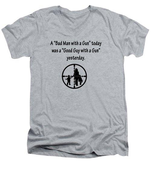 Bad Man With A Gun Men's V-Neck T-Shirt