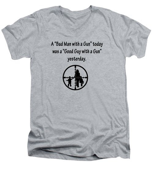 Bad Man With A Gun Men's V-Neck T-Shirt