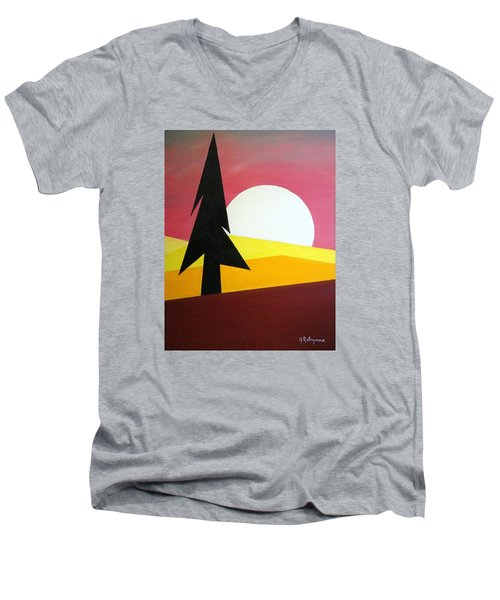 Men's V-Neck T-Shirt featuring the painting Bad Moon Rising by J R Seymour
