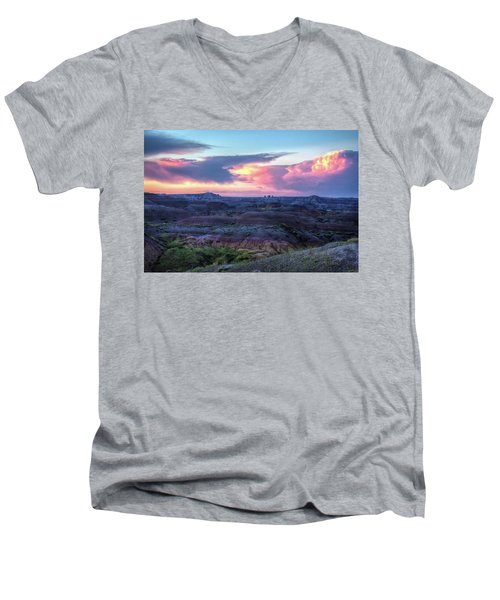 Badlands Sunrise Men's V-Neck T-Shirt by Fiskr Larsen