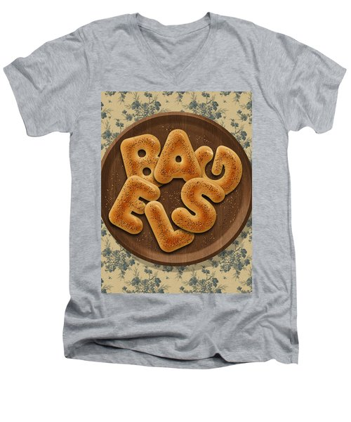 Bagels Men's V-Neck T-Shirt by La Reve Design