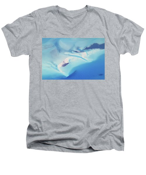 Men's V-Neck T-Shirt featuring the photograph Bahama Banks Aerial Seascape by Roupen  Baker