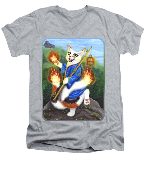 Bakeneko Nekomata - Japanese Monster Cat Men's V-Neck T-Shirt