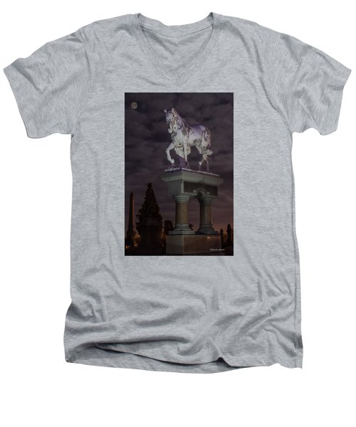 Men's V-Neck T-Shirt featuring the photograph Baker Horse Under The Full Moon by Stephen  Johnson