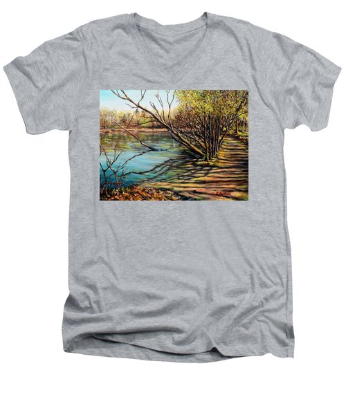 Bakers Pond Ipswich Ma Men's V-Neck T-Shirt by Eileen Patten Oliver
