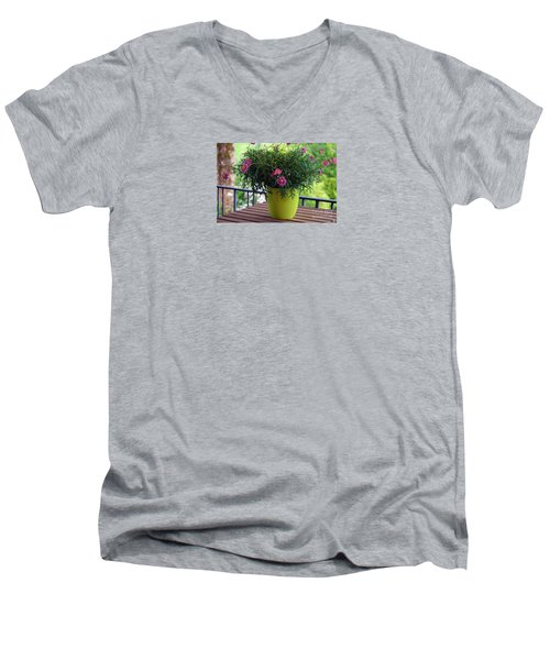 Men's V-Neck T-Shirt featuring the photograph Balcony Flowers by Susanne Van Hulst