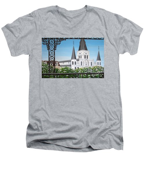 Balcony View Of St Louis Cathedral Men's V-Neck T-Shirt