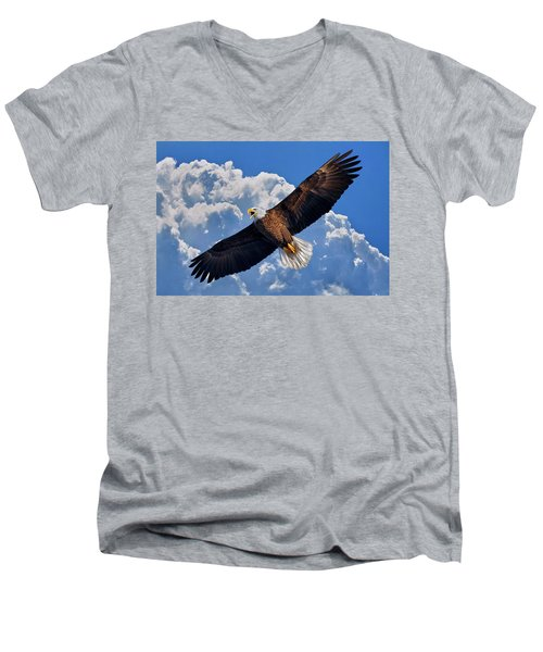 Bald Eagle In Flight Calling Out Men's V-Neck T-Shirt
