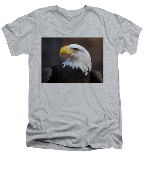 Men's V-Neck T-Shirt featuring the digital art Bald Eagle Painting by Chris Flees