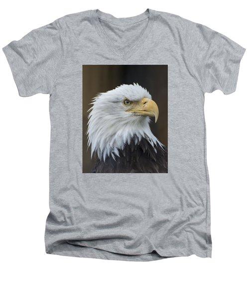 Bald Eagle Portrait Men's V-Neck T-Shirt by Gary Lengyel