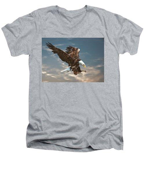 Bald Eagle Swooping Men's V-Neck T-Shirt