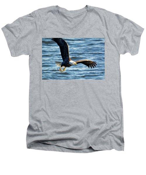 Bald Eagle With Fish Men's V-Neck T-Shirt