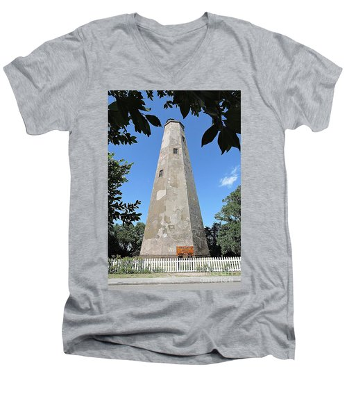 Men's V-Neck T-Shirt featuring the photograph Bald Head Island Lighthouse by Shelia Kempf