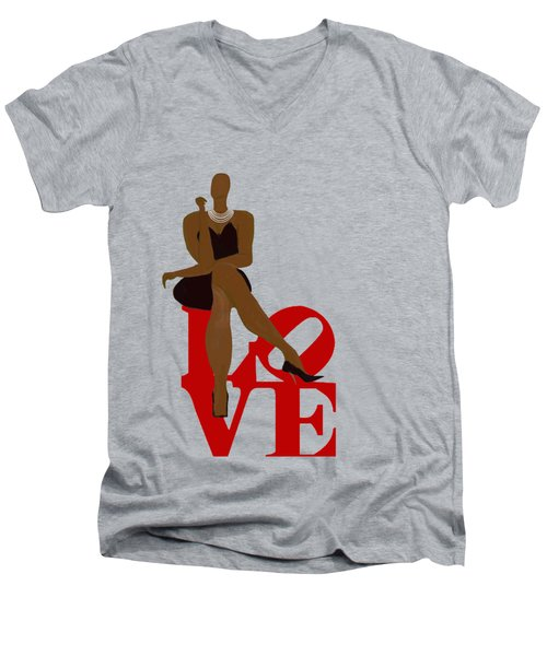 Bald Sitting On Love Men's V-Neck T-Shirt by Romaine Head