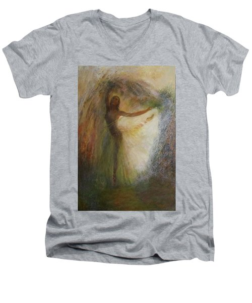Ballet Dancer's Silhouette Men's V-Neck T-Shirt